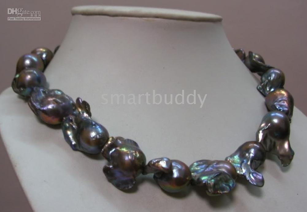 tahitianische barockperlen großhandel-28-30mm Tahitian barocke schwarze Perlenkette 18 '' 14K