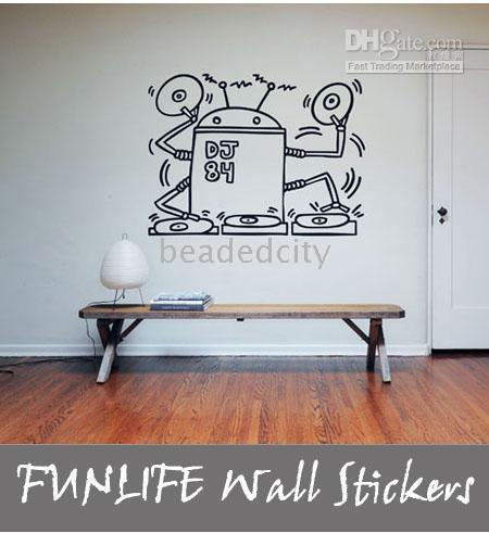 Funlife Retro Wall Stickers Robot Dj 84 By Keith Haring Vinyl Wall Sticker  Decal Design Wall Decals Design Wall Stickers From Beadedcity, $13.23|  Dhgate.Com Part 44