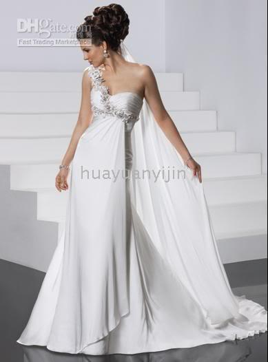 2011 Newest Style White One Shoulder Greek Goddess Chiffon Wedding ...