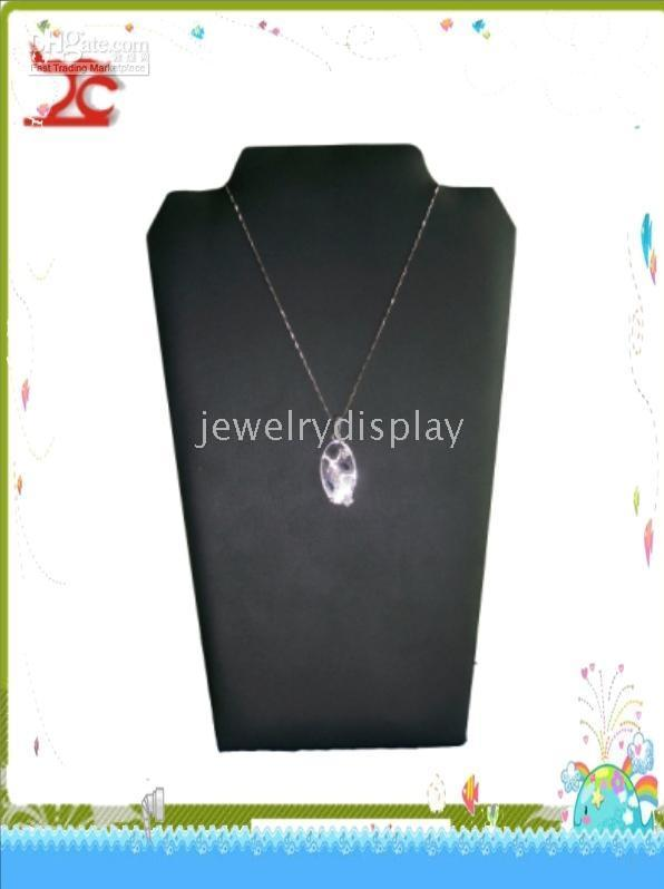Foldable Cardboard Covered Leather Jewelry Stand Necklace Display Bust Necklace Display Holder Neck Stand Easel Black