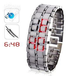 Wholesale Red Led Rings - LED Watch ring table Red LED SHARP Lava Style Iron Samurai Metal fashion Creative watches