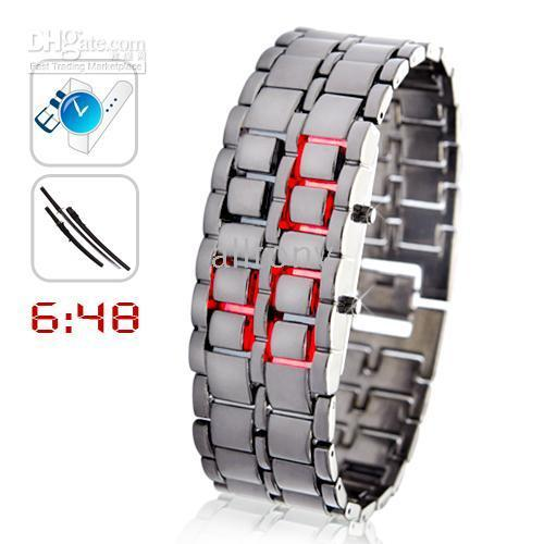 Wholesale Lava Iron Samurai Led Watch - LED Watch ring table Red LED SHARP Lava Style Iron Samurai Metal fashion Creative watches