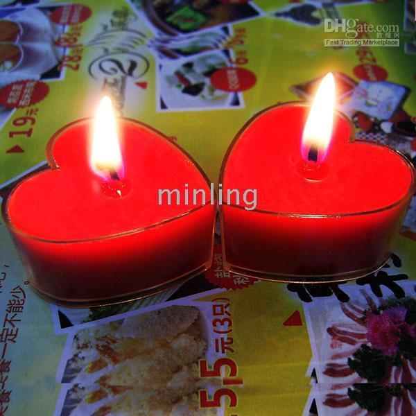 rote kerzen herzform großhandel-Hochzeit Dekorationen, Herzform Hochzeit Kerzen, Hochzeit Gefälligkeiten - rot