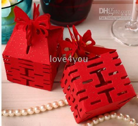 Wholesale 50pcs Hollowed Wedding Butterfly Red DIY Chinese Paper Gift Jewelry Candy Box