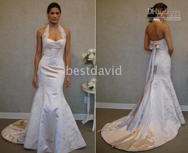 Halter Wedding Dresses White Ivory V Neck Lace Satin