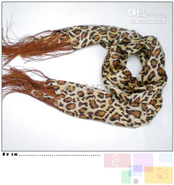 Wholesale Tassel Fringe Silk - Leopard Print Silk Scarf For Men Bilayer Tassel 10 pcs lot Free