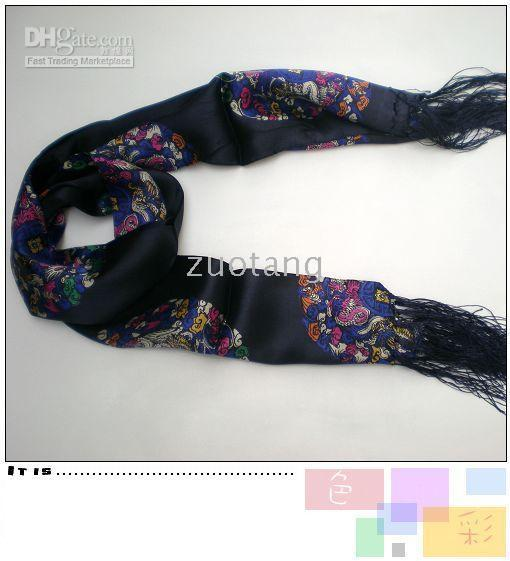 Long Men's Fashion Scarf 100% Silk Scarves Bilayer Tassel Floral Scarf Chinese Style Designs 10 pcs/lot mix color Free