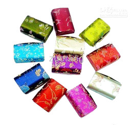 Wholesale Cheap Jewelry Shipping Boxes - Unique High End Jewelry Gift Boxes with Mirrors Cheap Silk Fabric Metal clasp Packaging Cases 12pcs lot mix color Free shipping