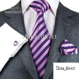 2019 conjuntos de gravata de seda Gravatas Dos Homens Conjunto de Gravata De Seda Hanky abotoaduras Artesanais 4 pcs set 24 jogos / lote # 1753 desconto conjuntos de gravata de seda