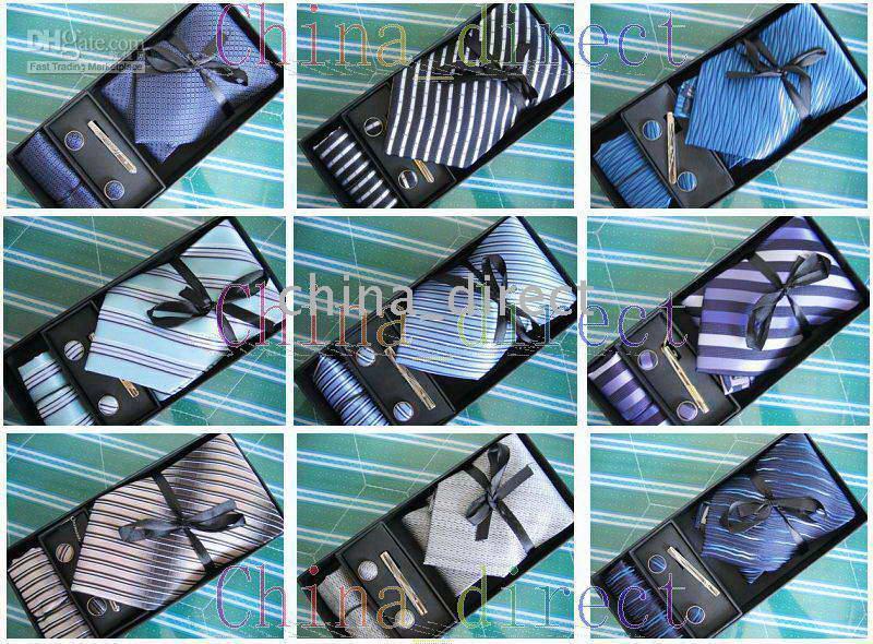 Wholesale Tie Clip Button - Mens tie set TIE+HANKY+CUFFLINKS+tie bar tie cuff link Neckties,cuff button#1775
