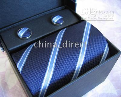Wholesale necktie hanky cuff - tie set TIE+HANKY+CUFFLINKS tie cuff link Neckties,ties,cuff button 13sets lot #1314