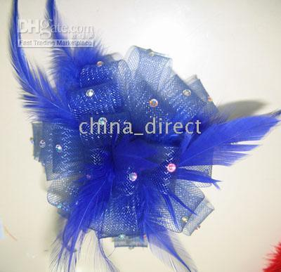 Wholesale flower hair clips brooch resale online - Feather FASCINATOR clip FLOWER PIN BROOCH Feathers hair clip Gorgeous