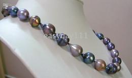 "Wholesale Tahitian Pearls China - 100% tahitian natural black gray pearls necklace 18""13mm14k"