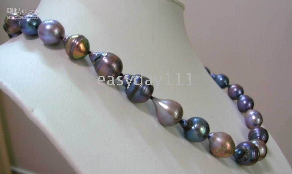 "Wholesale Tahitian Black Pearls China - 100% tahitian natural black gray pearls necklace 18""13mm14k"