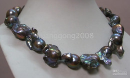 Wholesale 14k Yellow Gold Chain 18 - 22-25mm tahitian baroque black pearl necklace 18'' 14K