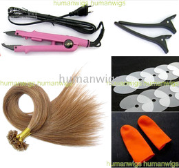 Wholesale Hair Fusion Sale - Hot sale Hair Extension Fusion Kits( Nail-tip hair +finger protector+shield+Hair connector+clip)