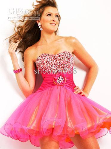 Orange and Pink Evening Dress