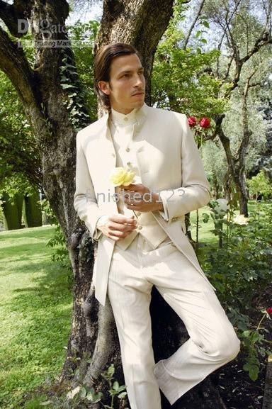 Wholesale Tying Stand - Custom Made Ivory Stand Collar Groom Tuxedos Best Man Groomsmen Men Wedding Suits Bridegroom (Jacket+Pants+Vest+Tie) NO:66
