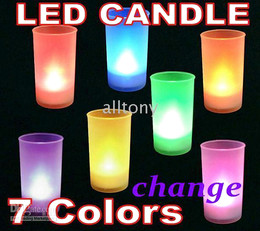 Wholesale Frosted Candles - 7 Color LED Candle Change lights Remote voice Control electronic Frosted Material led 5pcs