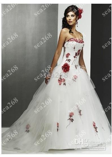 Discount strapless wedding dresses white red rose embroidered see larger image junglespirit Gallery