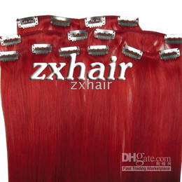 "Wholesale Hair Extension Clips Red - 15"" 7pcs set remy Clip-in hair Human Hair Extensions #red"
