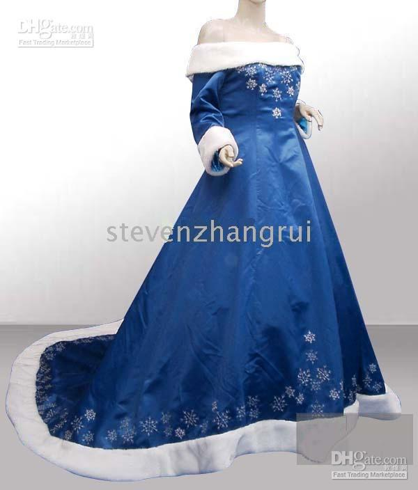 Blue Wedding Gowns Fashion: 2010 New Style Winter Blue Wedding Dresses Bridal Gown