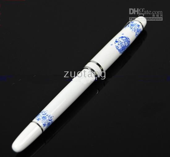 Wholesale blue white porcelain pens for sale - Blue and White Porcelain Classic Chinese Fountain Pen Vintage High Quality Business Gift Calligraphy Ink Pen with Gift Box