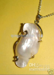 Wholesale Natural Baroque Pendant - huge 30mm NATURAL SEA WHITE BAROQUE PEARL NECKLACE PENDANT
