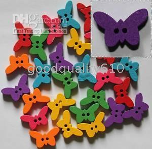 $enCountryForm.capitalKeyWord NZ - 100Pcs butterfly Wood Buttons Sewing Craft Assorted colors Hot
