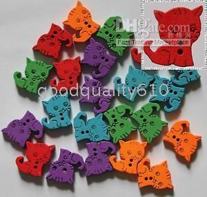 Wholesale Assorted Wood - 100pcs cat Wood Buttons Sewing Craft Assorted colors Hot