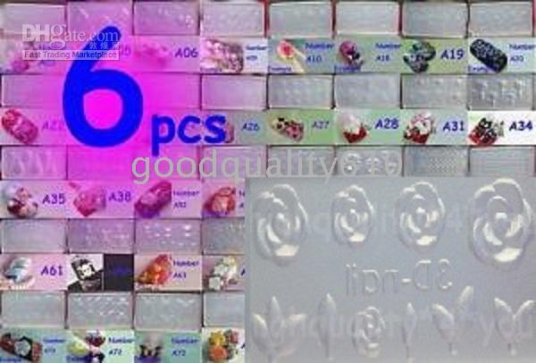 Wholesale Molds For Nail Art - 6pcs Acrylic Mold For 3D Nail Art Decoration DIY free P&P NEW