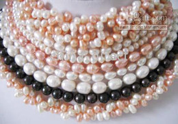 Wholesale Fresh Cultured Pearls - GORGEOUS WHOLESALE CULTURED FRESH PEARL STRIP NECKLACE Beaded necklace 20pcs lot