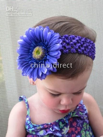Wholesale Crochet Satin Headband - Girl lace hairbow hairband hair band head band headband -satin crochet headband baby hair bow New