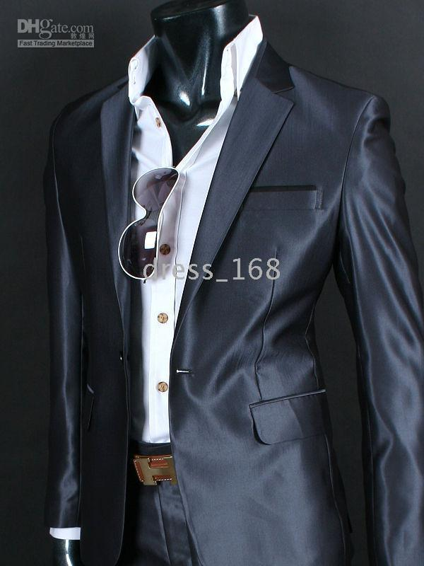 2017 Men Slim Fit 1bt Dress Suit Su064 Shiny Blue D Gray Xl From ...