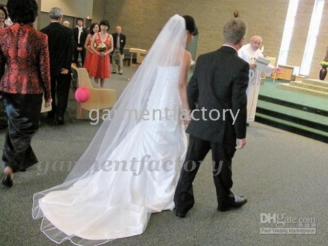 Wholesale Dresses Long Layers - beautiful chapel train length 1-layer overlocked edge bridal veils white long wedding dresses veils