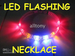 Wholesale Colorful Blinking Led - LED Blinking spiked Flashing activate necklace with Colorful flash led light necklace 20pcs lot
