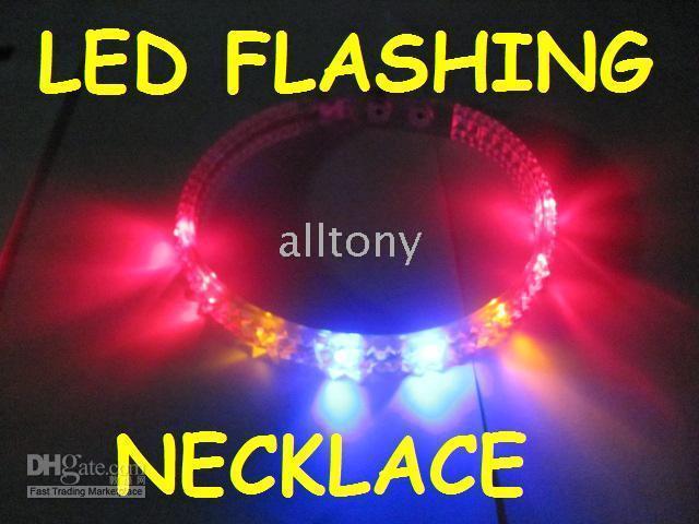 Wholesale Colorful Blinking Led - LED Blinking spiked Flashing activate necklace with Colorful flash led light necklace 20pcs lot