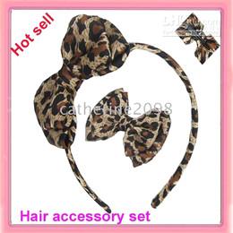 Nouveau 6sets léopard imprimé cheveux en satin arc cheveux ensemble accessoire de cheveux ? partir de fabricateur