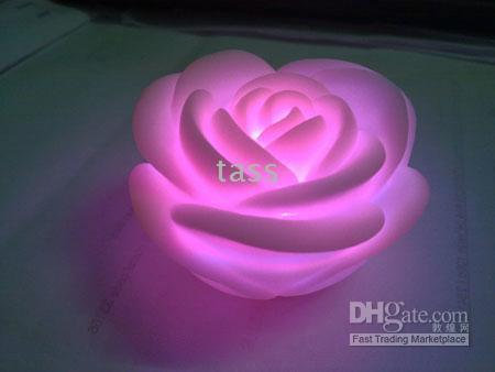 Light Rose LED con 7 Cambio --50pcs luz de la boda decoración de la luz Colores
