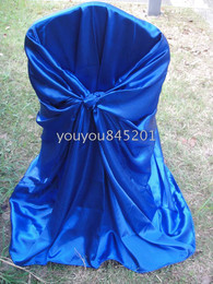 Wholesale Royal Blue Spandex Chair Covers - Royal Blue Satin Chair Bag Self-Tie Satin Chair Cover 100PCS With Free Shipping For Wedding Decoration Use