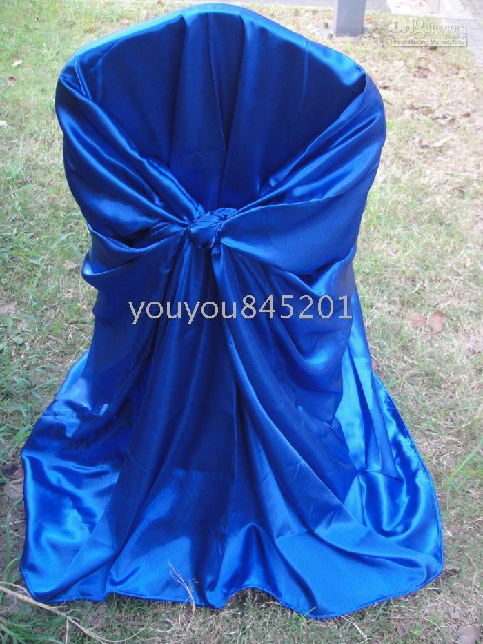 Blue Spandex Chair Australia - Royal Blue Satin Chair Bag Self-Tie Satin Chair Cover 100PCS With Free Shipping For Wedding Decoration Use