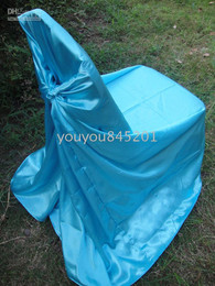 Wholesale Blue Satin Chair Covers - Turquoise Blue Color satin chair bag self-tie satin chair cover 100PCS A Lot With Free Shipping