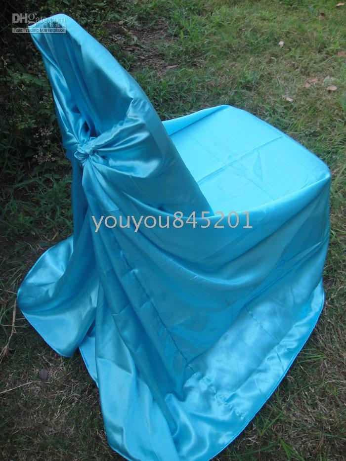Wholesale Turquoise Wedding Chair Covers - Turquoise Blue Color satin chair bag self-tie satin chair cover 100PCS A Lot With Free Shipping