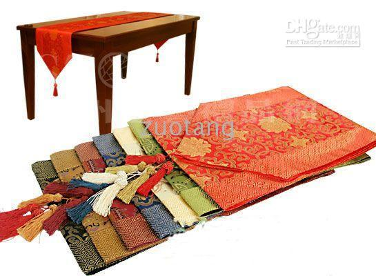 Wholesale Table Cloth For Wedding Cheap - Cheap Patchwork Table Runner Cover Cloth Chinese Style Silk Brocade Coffee Table Cloth for Wedding Festive Party Home Decoration 10pcs lot