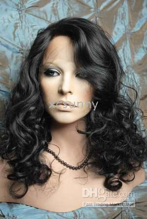 """New Gorgeous 14""""-26"""" Heat Friendly Synthetic Lace Front #1B Curly Hair Wigs"""