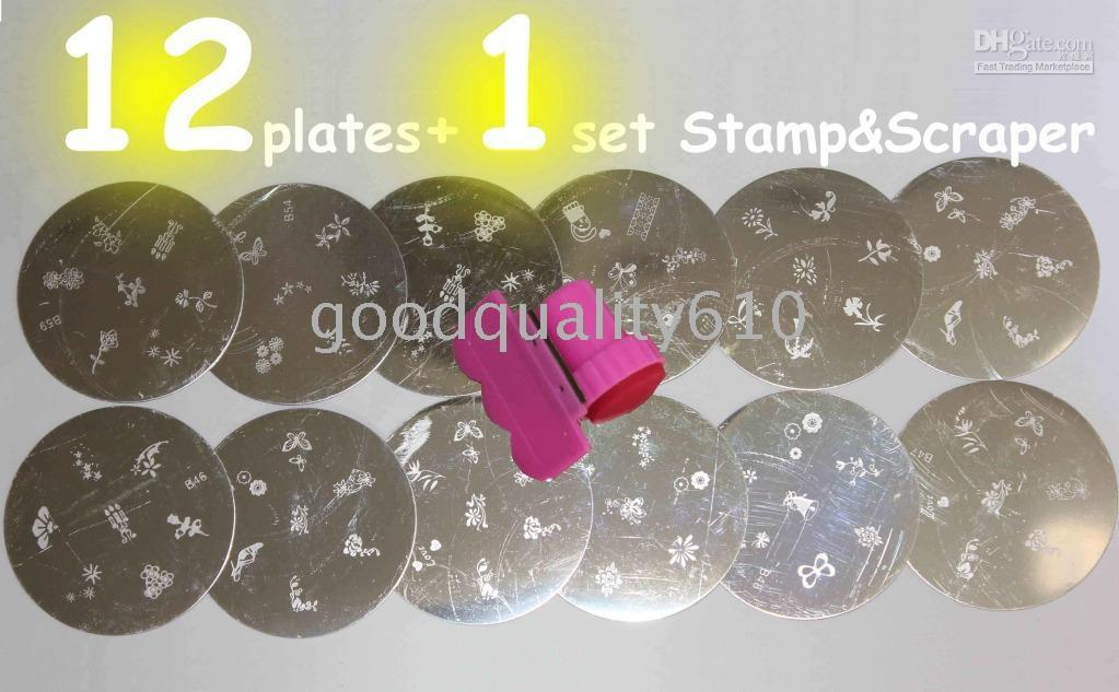 Wholesale Molds Nails - 12 Stamping Nail Art Plates + Stamp & Scraper+ Free gift