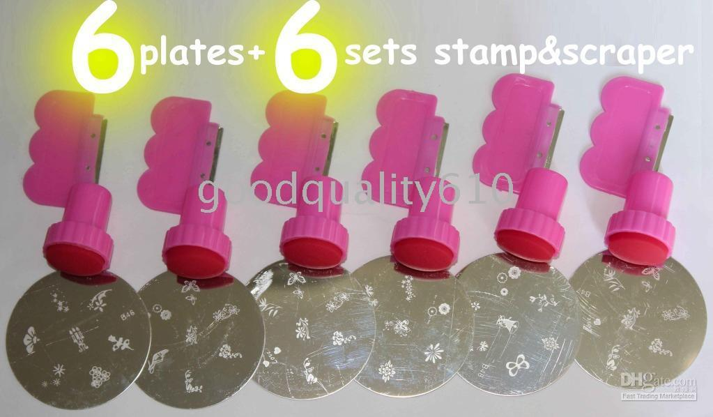 Hot selling 6 Stamping Nail Art Plates + 6 set Stamp&Scraper+ 100 film slices +Free ship