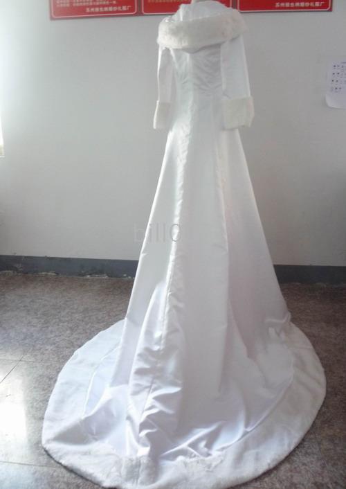 Winter Wedding Dresses Cloak Chapel Train Stain Long Sleeve wedding Coat for bride