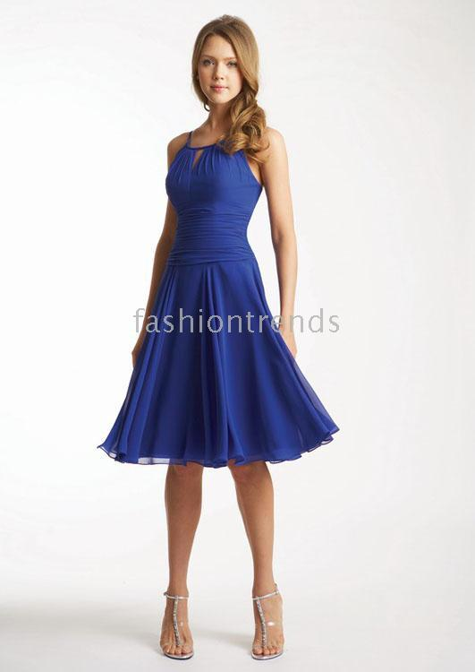 Sexy A Line Halter Royal Chiffon Cocktail Dresses Cd0081 Cocktail ...