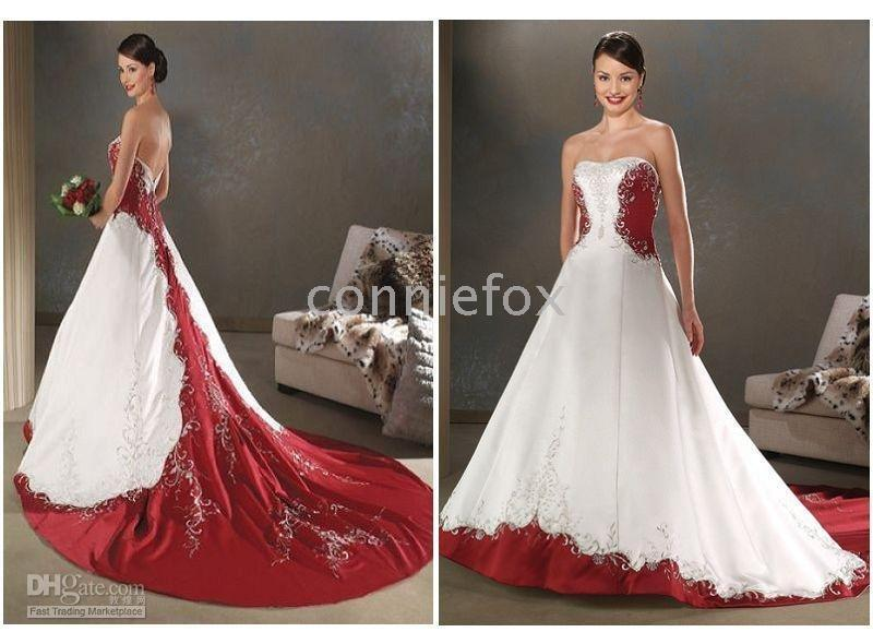 Red And White Embroidey Bride Plus Size Wedding Dresses Any Size ...